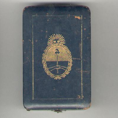 Case for an order, the Argentine coat of arms on the lid, by Ricciardi of Buenos Aires, Mar del Plata  and Paris, probably 1920s or 1930s