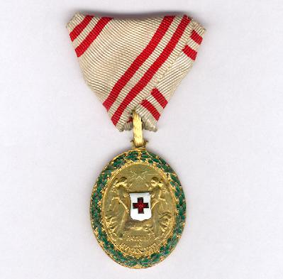 Austrian Red Cross Merit Award, bronze medal with war decoration (Ehrenzeichen vom Roten Kreuz, Bronzene Ehrenmedaille mit Kriegsdekoration), 1914-1919 issue