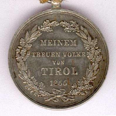 Commemorative Medal for the Defence of the Tyrol (Denkmünze an die Tiroler Landesverteidigungs), 1866