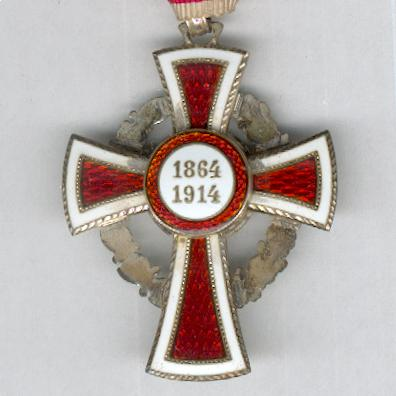 Austrian Red Cross Merit Award, 2nd Class, with War Decoration (Ehrenzeichen für Verdienste um das Rote Kreuz, II Klasse, mit Kriegsdekoration), 1914-1919 issue, in original case of issue by Bachruch of Budapest