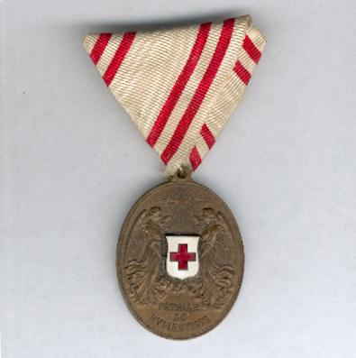 Austrian Red Cross Merit Award, bronze medal, without war decoration (Ehrenzeichen vom Roten Kreuz, Bronzene Ehrenmedaille, ohne Kriegsdekoration), 1914-1919 issue