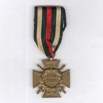 Cross of Honour of the World War, Combatant (Ehrenkreuz des Weltkrieges, Frontkämpfer), 1914-1918