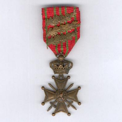 War Cross (Croix de Guerre / Oorlogskruis) 1914-1918 with three palm citations on the ribbon