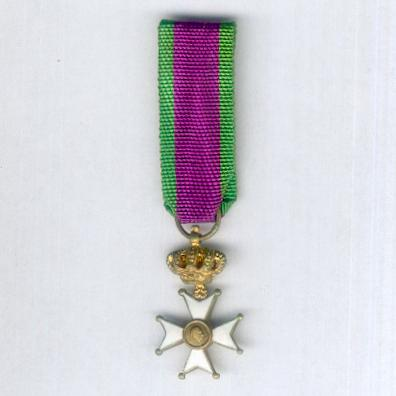 Cross for the Veterans of Leopold III (Croix des Anciens Militaires de Léopold III / Kruis van de Veteranen van Koning Leopold III), miniature