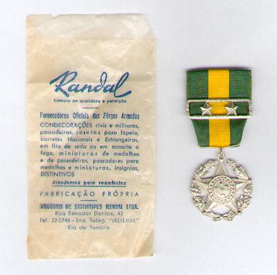 Military Medal, silver (Medalha Militar de prata) with two star citations for twenty years' service, in rare original envelope of issue by Randal of Rio de Janeiro