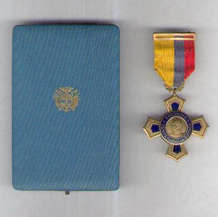 Centennial Cross of Boyaca (Cruz Centenario de Boyacá) 1819-1919, rare second type, 1922-1927, in fitted embossed case of issue by J. H. Werner of Berlin