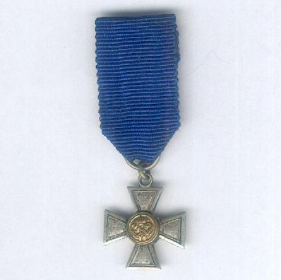PRUSSIA.  Territorial Army Long Service Cross for Officers, I class for 20 years' service, 1868-1920 issue (PREUSSEN.  Landwehr-Dienstauszeichnungskreuz für Offiziere, I. Klasse für 20 Dienstjahre, 1868-1920 Ausgabe), miniature