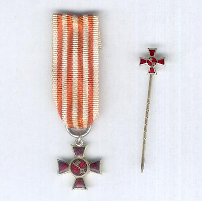 BREMEN.  Hanseatic Cross 1914-1918, miniature, with associated stickpin (Hanseatenkreuz 1914-1918, Miniature, mit zugehörig Schlipsnadel)