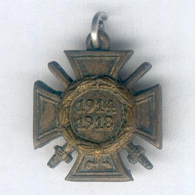 GERMAN EMPIRE.  Cross of Honour of the World War, Combatant (Ehrenkreuz des Weltkrieges, Frontkämpfer) 1914-1918, miniature