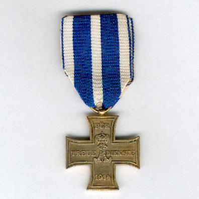 SCHAUMBURG-LIPPE.  Cross for Loyal Service, on combatant's ribbon (Kreuz für treue Dienste, am Kämpferband), 1914-1918