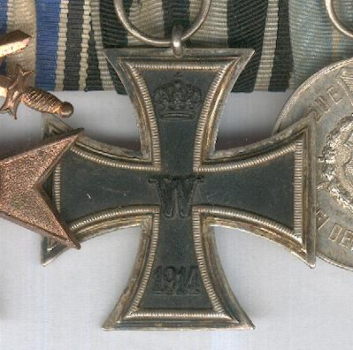 BAVARIA.  Great War Group of Three: Bavaria, Military Merit Cross, III class with Swords; Prussia, Iron Cross, II class, 1914 issue by Sy & Wagner of Berlin; Bavaria, Military Service Medal, III class for 9 years' service, 1913-1918 issue; parade-mounted