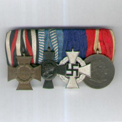 BAVARIA.  Great War and Later Group of Four: Cross of Honour of the World War (Hindenburg Cross) 1914-18, military non-combatant; King Ludwig Cross; Third Reich Faithful Service Decoration, silver; Golden Wedding Anniversary Commemorative Medal 1921; parade mounted