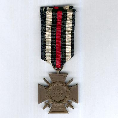 Cross of Honour of the World War, often known as the Hindenburg Cross, combatant, maker G3 (Ehrenkreuz des Weltkrieges, Frontkämpfer, Hersteller G3), 1914-1918