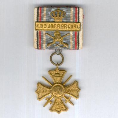 WEIMAR REPUBLIC.  Regimental Commemorative Cross with Royal Bavarian 3rd Infantry Regiment 'Prince Carl of Bavaria' clasp, parade-mounted, 1914-1918