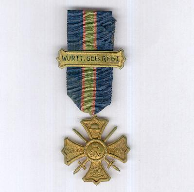 WEIMAR REPUBLIC.  Regimental Commemorative Cross with Wurttemberg Mountain Regiment clasp (WEIMARER REBUBLIK.  Regiments-Erinnerungskreuz mit Gefechtsspange des Württembergisches Gebirgs-Regiment), 1914-1918