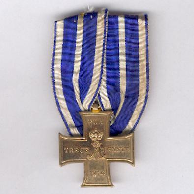 SCHAUMBURG-LIPPE.  Cross for Loyal Service, court-mounted on combatant's ribbon (Kreuz für treue Dienste, am Kämpferband an Einzelbandschnalle), 1914-1918