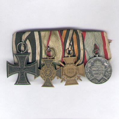 ANHALT.  First World War Court-Mounted Group of Four, comprising Iron Cross II class, Friedrich Cross, Cross of Honour of the World War for combatants and the Hungarian Commemorative Medal for World War I for combatants