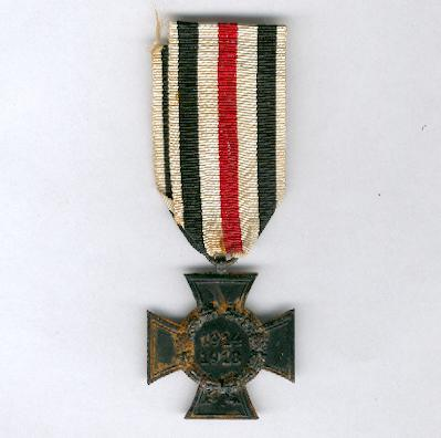 Cross of Honour of the World War (Ehrenkreuz des Weltkrieges), 1914-1918, for next of kin, maker 'R.V.' (Reichsverband) of Pforzheim