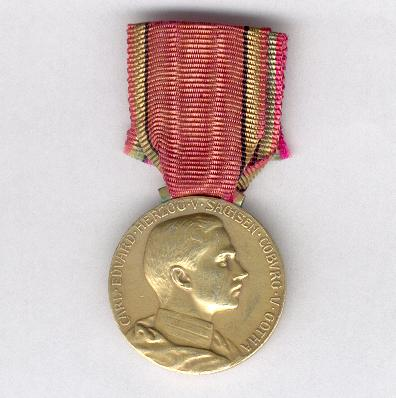 SAXE-COBURG-GOTHA.  Golden Medal of Merit of the Ducal Saxe-Ernestine House Order, Duke Carl Eduard (SACHSEN-COBURG-GOTHA.  Goldene Verdienstmedaille des Herzoglich Sachsen-Ernestinischen Hausordens, Herzog Carl Eduard), 1905-1918