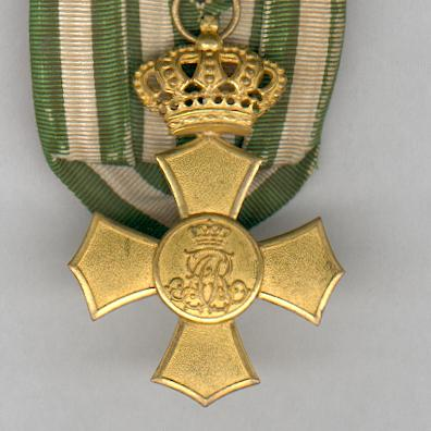 SAXONY, Kingdom.  Cross of Honour with Crown, court mounted (SACHSEN - Königreich.  Ehrenkreuz mit Krone, an Einzelbandschnalle), 1907-1918