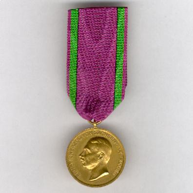 SAXE-ALTENBURG.  Golden Medal of Merit of the Ducal Saxe-Ernestine House Order, Duke Ernst II (SACHSEN-ALTENBURG.  Goldene Verdienstmedaille des Herzoglich Sachsen-Ernestinischen Hausorden, Herzog Ernst II.), 1908-1918 issue