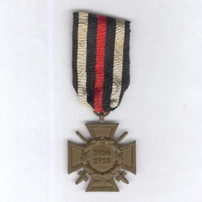 Cross of Honour of the World War, Combatant (Ehrenkreuz des Weltkrieges, Frontkämpfer), 1914-1918, maker 'JK'