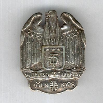 WEIMAR REPUBLIC.  Badge for the 14th German Gymnastics Festival, Cologne, 1928, silver (WEIMARER REPUBLIK.  Abzeichen für das 14. Deutsches Turnfest, Köln, 1928, Silber) by Karl Poellath of Schrobenhausen