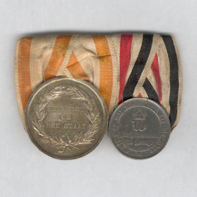 PRUSSIA.  Franco-Prussian War 1870-1871 Pair: General Honour Decoration, II class, silver and Commemorative Medal for the Franco-Prussian War 1870-1871 for non-combatants, steel, court-mounted