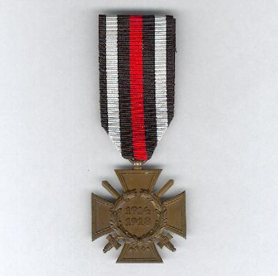 Cross of Honour of the World War, Combatant (Ehrenkreuz des Weltkrieges, Frontkämpfer), 1914-1918, maker 'R.V. 9 Pforzheim'
