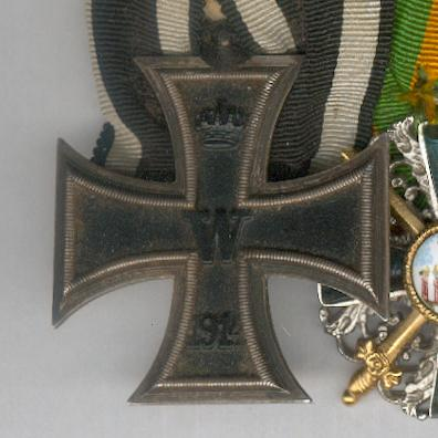 Great War Group of Five:  PRUSSIA Iron Cross II class 1914, BADEN Order of the Zahringen Lion knight with swords (uniface copy), HAMBURG Hanseatic Cross, GERMANY Cross of Honour 1914-18 combatant and AUSTRIA EMPIRE Cross for Military Merit III class