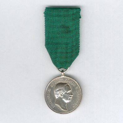 SAXONY, Kingdom.  Silver Medal for Loyalty in Work (Sachsen-Königreich. Silberne Medaille für Treue in der Arbeit), King Friedrich August III issue, 1904-1918 by Paul Meybauer of Berlin