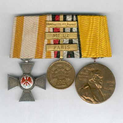 PRUSSIA.  Group of Three: Order of the Red Eagle IV class, Commemorative Medal for the Franco-Prussian War 1870-1871 for combatants with 'Gravelotte-St. Privat', 'Metz' and 'Paris' bars and Kaiser Wilhelm I Centenary Medal 1897, parade-mounted