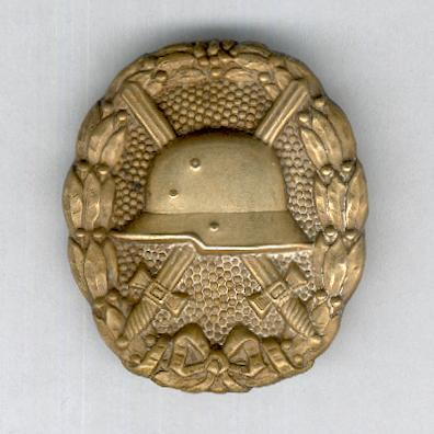 Wound Badge, 'gold' (Verwundetenabzeichen in 'Gold'), 1914-1918 issue