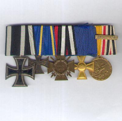 Group of Five: Prussia Iron Cross II class 1914, Brunswick War Merit Cross II class 1914-18, Cross of Honour of the World War - Combatant, Prussia Long Service Cross for 15 years' service and China Campaign Medal for Combatants 1900-01 with 'Fouphing' bar