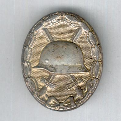 Wound Badge, 'gold' (Verwundeten Abzeichen in 'Gold'), 1914-1918 issue, very rare solid version with flat reverse