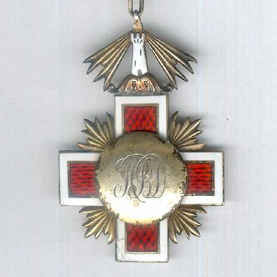 Order of the Estonian Red Cross, IV or V class (Eesti Punase Risti Teenetemaerk IV või V klassi), 1925-1940 issue, with replaced engraved reverse medallion