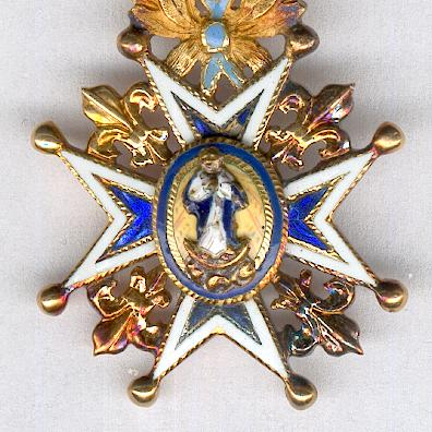 Royal and Distinguished Spanish Order of Carlos III, knight, in gold, miniature (Real y Distinguida Orden Española de Carlos III, caballero, en oro, miniatura)