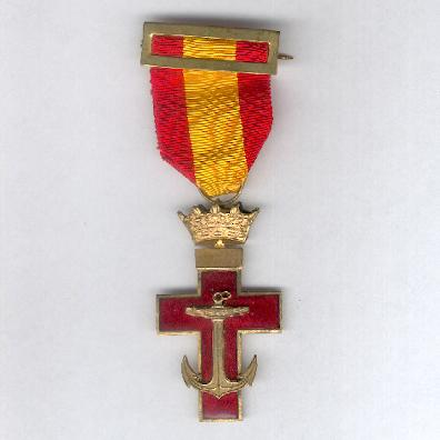 Order of Naval Merit, I Class Cross with Red Distinction (Orden del M�rito Naval, Cruz de 1� Clase con Distintivo Rojo), 1938-1970 issue