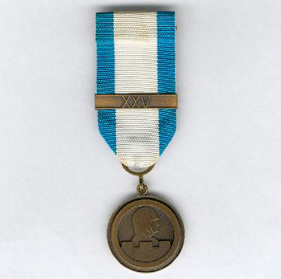 War Veterans' Association Medal of Merit (Sotaveteraaniliiton ansiomitali) with 'XXV' clasp for 25 years' membership