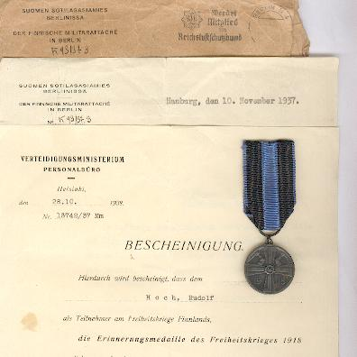 Commemorative Medal of the War of Liberation (Vapaussodan Muistomitali), 1918, by Sporrong of Stockholm, with rare award documentation