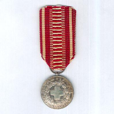 Finnish Red Cross Medal of Merit (Suomen Punainen Ristin Ansiomitali), silver, Helsinki silver marks for 1952, year of the Helsinki Olympic Games