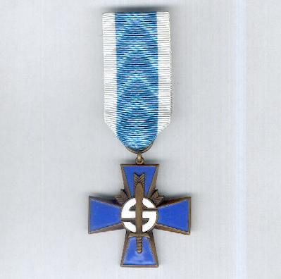 Blue Cross (Sininen Risti) for the Civil Guard (Suojeluskunta/Skyddskåren) Veterans of the War of Independence, Winter War and Continuation War, 1917 to 1945 by Veljekset Sundqvist of Helsinki