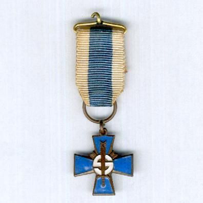 Blue Cross (Sininen Risti) for the Civil Guard (Suojeluskunta / Skyddskåren) Veterans of the War of Independence, Winter War and Continuation War, 1917 to 1945, 1st type, issued 1968 to 1983, miniature