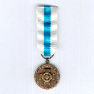 Reserve Non-Commissioned Officers Association Bronze Medal of Merit (Reservin Aliupseerien Liito Pronssinen Ansiomitali), miniature