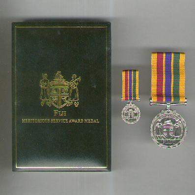 Meritorious Service Award Medal, with associated miniature, in fitted embossed case of issue by Royal Insignia (Hills International Ltd) of New Zealand
