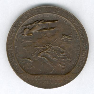 AVIATION. Large highly decorative copper medal of the Franco-Romanian Aerial Navigation Company (Grande médaille en cuivre de la Compagnie Franco-Roumaine de Navigation Aerienne), 1920, by Henry Nocq