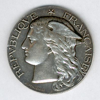 AGRICULTURE.  Large silver medal for the Regional Agricultural Show at Niort, 1891, signed 'H. Ponscarme' (Grande médaille en argent, Concours Régional Agricole à Niort, 1891, signée 'H. Ponscarme')