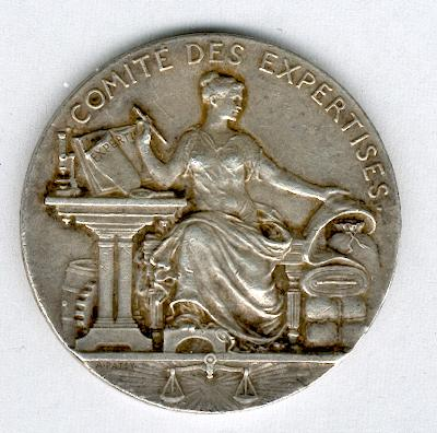 EXPERTISE.  Commemorative Medal for the Law of 27 July 1822, silver, signed 'A. Patey' (Médaille 'Comité des Expertises, Loi du 27 juillet 1822' en argent, signée 'A. Patey')