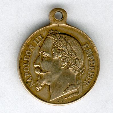 Commemorative Medal for Emperor Napoleon III and the Prince Imperial (Médaille Commemorative de l'Empereur Napoléon III et du Prince Impérial), miniature