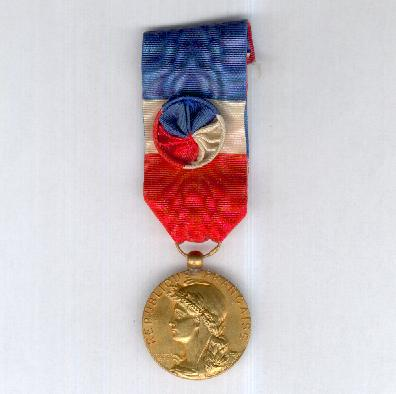 Medal of Honour for Labour of the Ministry of Commerce and Industry, silver-gilt, Larochette/Mourgeon version (Médaille d'Honneur du Travail du Ministère du Commerce et de l'Industrie en vermeil, modèle Larochette/Mourgeon)